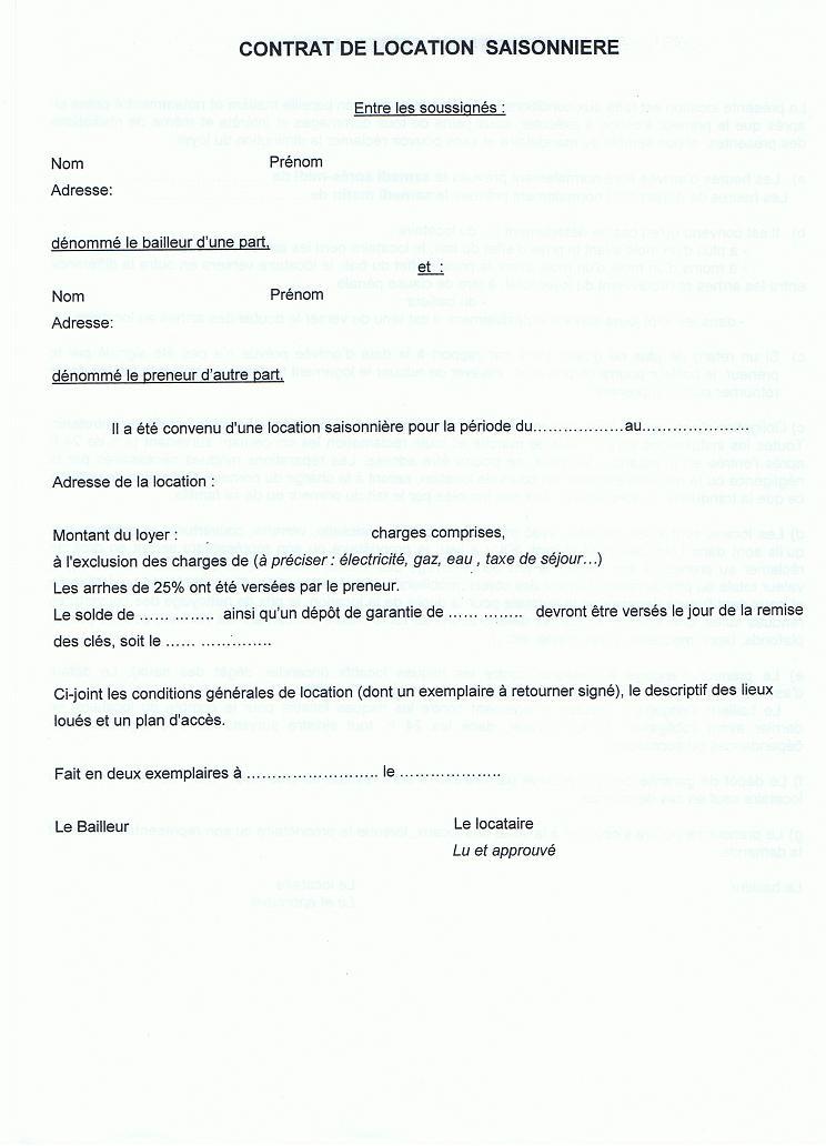 Contrat de location saisonniere particulier table de lit - Contrat location saisonniere meuble gratuit ...